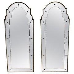 Pair of Tall Maison Jansen Style Bronze Mounted Mirrors