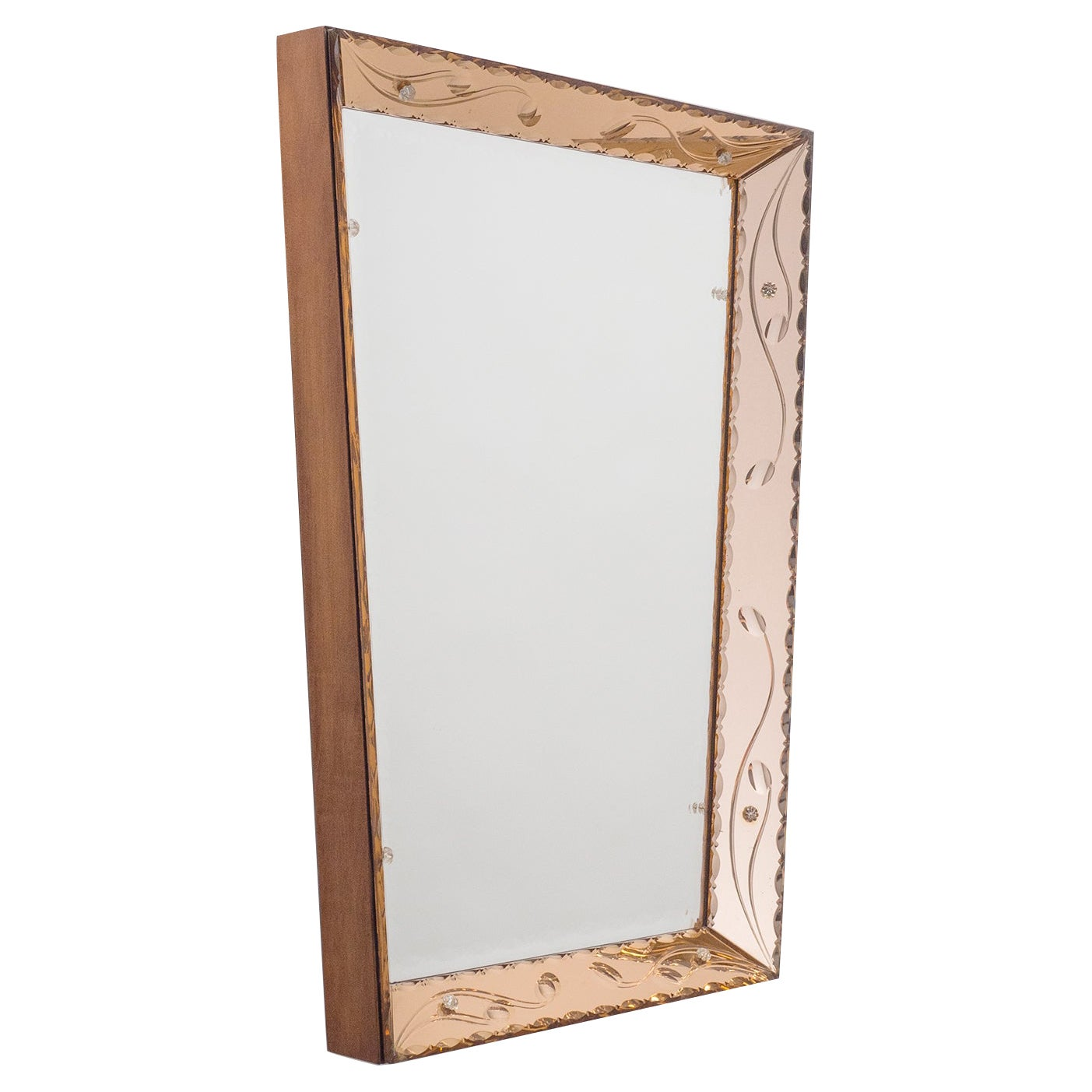 Italian Cut Glass Mirror, 1940s