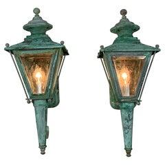 Pair of Vintage Brass Wall Lantern