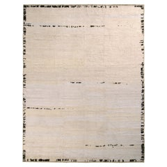 Rug & Kilim's Contemporary Rug in Off White, Black Solid Stripe Patterns