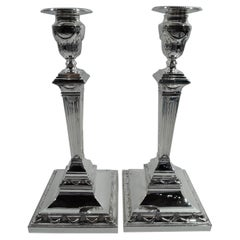Pair of English Edwardian Neoclassical Sterling Silver Candlesticks