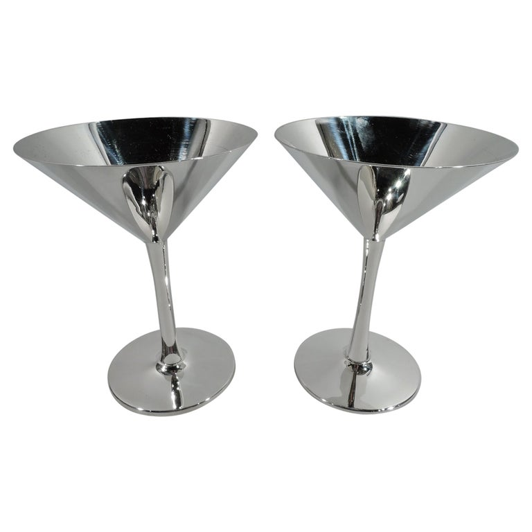 Pair of Cartier Mid-Century Modern Sterling Silver Cocktail Cups