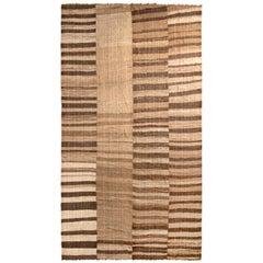 Handwoven Vintage Persian Kilim Rug in Beige-Brown Striped Pattern