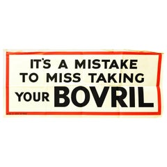 Original Vintage Poster It's A Mistake To Miss Taking Your Bovril Hot Drink Food