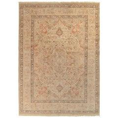 Rug & Kilim's Persian Tabriz Style Rug in Beige-Brown, Pink Floral Pattern