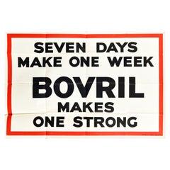 Original Vintage Poster Seven Days Make One Week Bovril Makes One Strong Advert