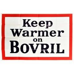 Original Vintage Poster Keep Warmer On Bovril Hot Drink Beef Extract Food Advert