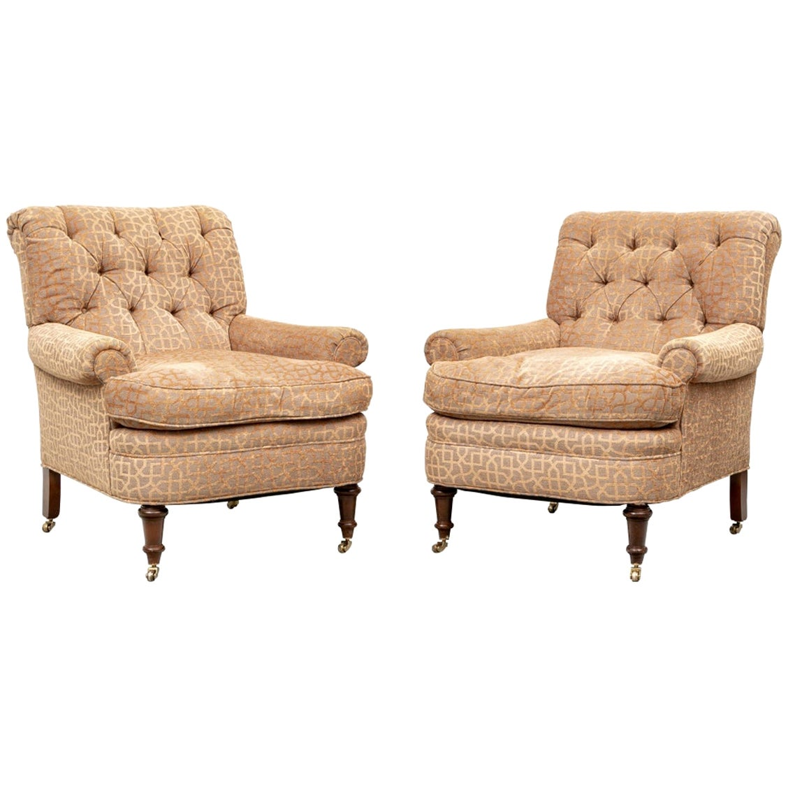 Pair of Quality George Smith Style Tuft-Back Club Chairs