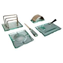 Italian Mid-Century Green Nilo Glass Desk Set by Fontana Arte, 1950s