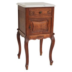 Antique French Louis XV Night Stand / Bedside Table Carved Oak Carrara Marble