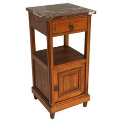 Antique French Night Stand / Bedside Table Solid Oak Belgium Red Marble Top 1920