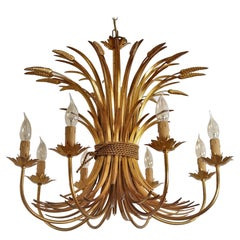 Italian Midcentury 8-Arm Gilt Chandelier with Wheat and Leaves, 1960s