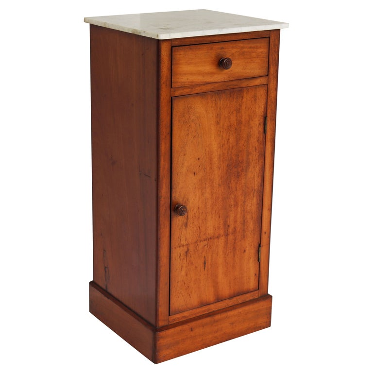Lovely French Antique 19th Century Night Stand / Bedside Table with Carrara Top For Sale