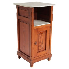Antique 19th Century Night Stand / Cabinet Solid Pitchpine & Carrara Marble Tops