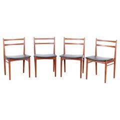 Mid-Century Modern Set of 4 Dining Chairs in Teak by Harry Rosengren Hansen