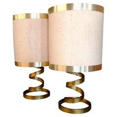 Pair of Design Table Lamps Design Luciano Frigerio Di Desio, 1970s