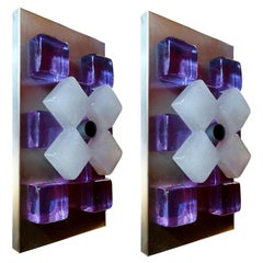 Pair of Wall Lamps Appliques Design Albano Poli for Poliarte, 1970s