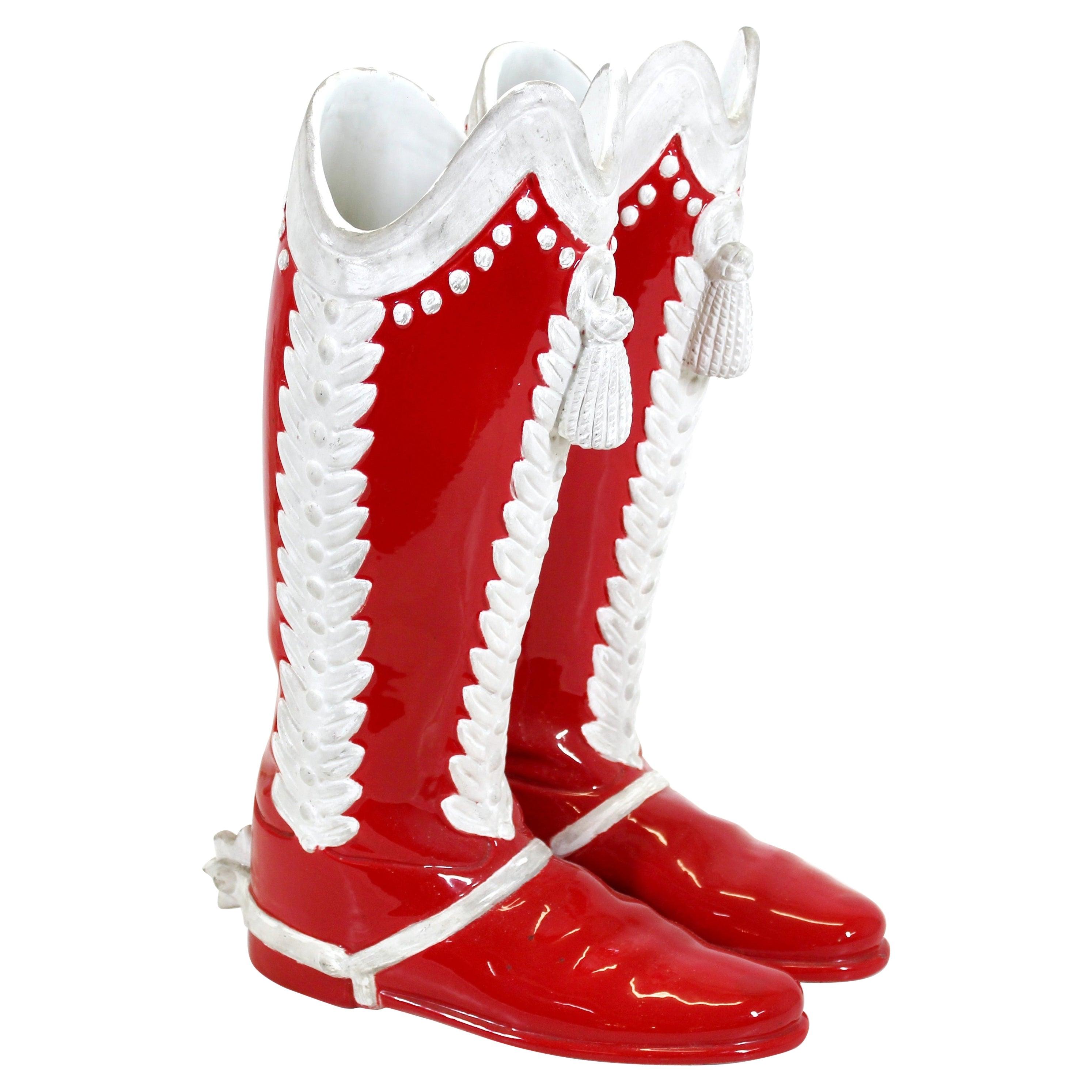 Italian Mid-Century Modern Ceramic Boots Umbrella Stand