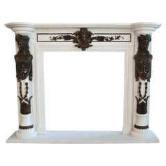 Fine Carved Marble & Bronze Fire Surround