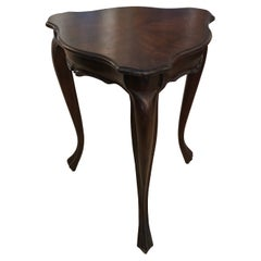 Elegant Triangular Walnut Small Side Table Martini Table