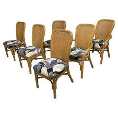 Pencil Reed Rattan and Cane Dining Chairs, Set of 6