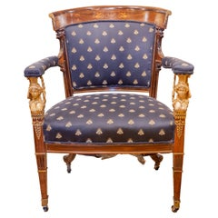Fine 19th C French Empire Mahogany and Inlaid Fauteiul with Gilt Bronze Mounts