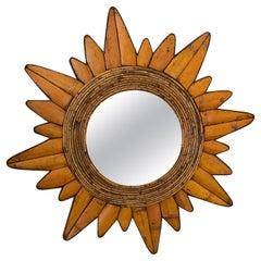 Eye Catching Mid-Century Modern Bamboo and Rattan Sunburst Mirror