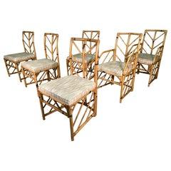 Vintage Chevron Rattan Dining Chairs, Set of 6