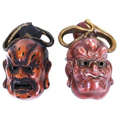 Japanese Nio Buddhist Temple Guardian Masks in Carved lacquered Wood