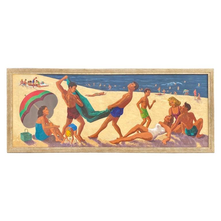 Mid Century Original Oil Painting of Wonderful Bright Beach Scene For Sale