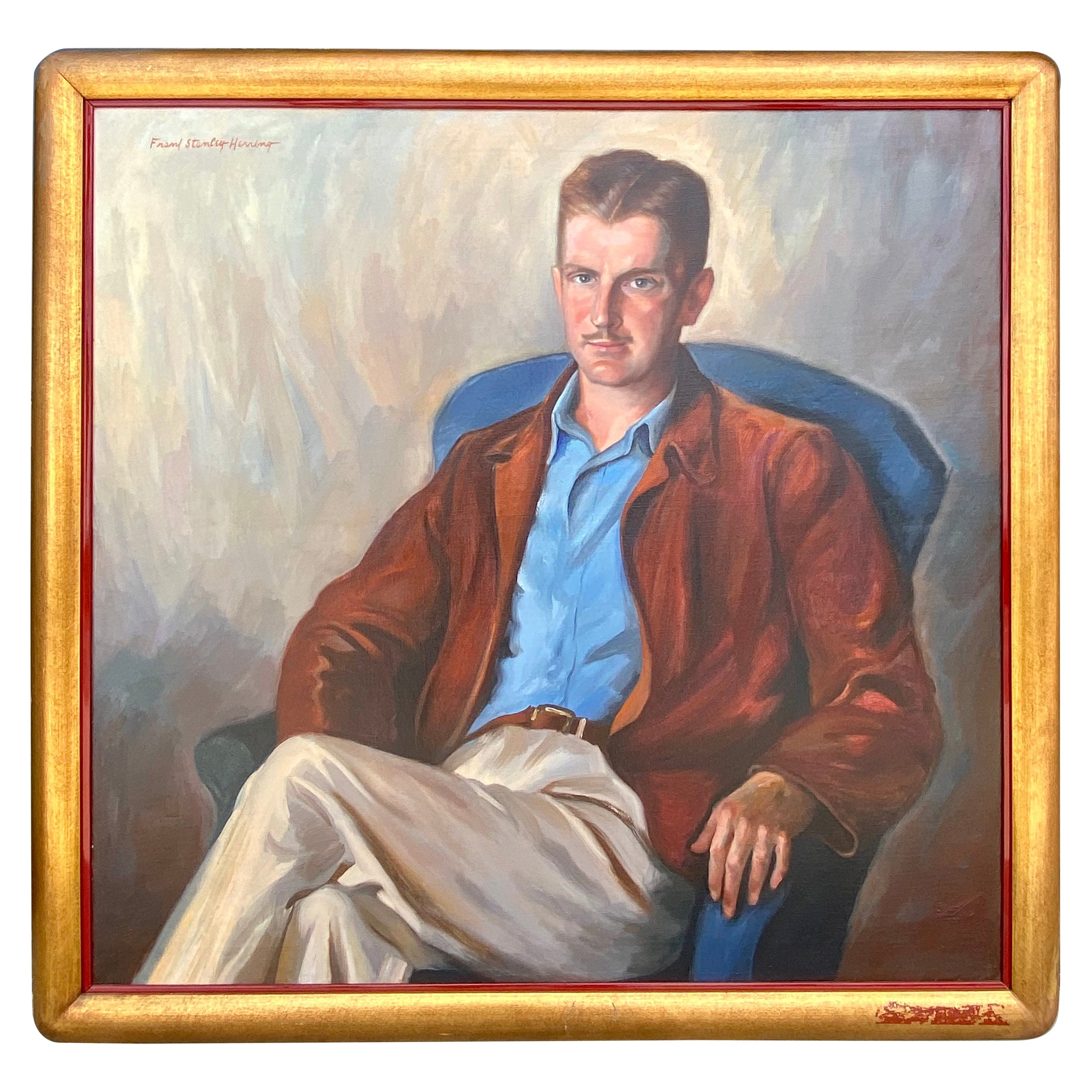 Mid Century Portrait of a Handsome Man Oil Painting