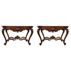 Pair of Large French Regency Carved Walnut Console Table with White Marble Top