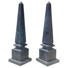 Pair of Large Mid Century Metal Outdoor/Indoor Obelisks