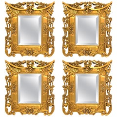 Set of 4 Carved Floral Giltwood Bevelled Glass Wall Mirror