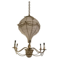 Whimsical Crystal & Brass Hot Air Balloon Vintage Chandelier