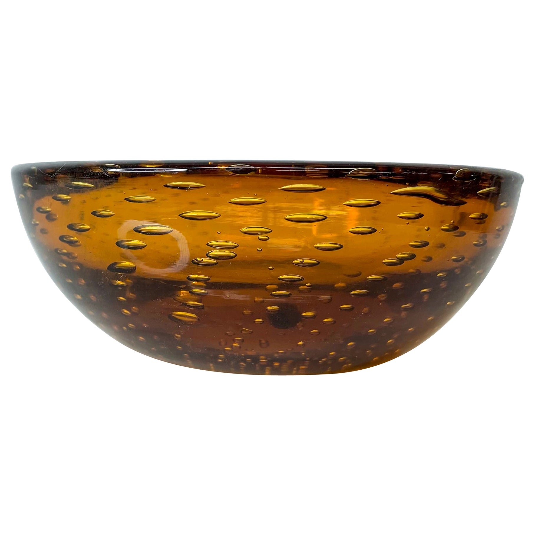 Modern Murano Art Glass Bowl in Amber Controlled Bubble, Italy 1970s