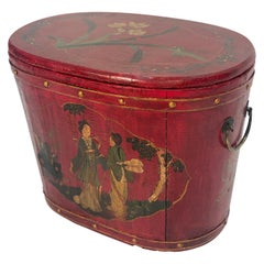 19th Century Chinoiserie Red Lacquered Lidded Rice Pail
