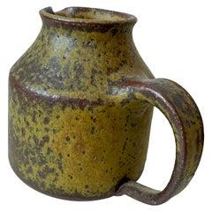 Innovative Glazed Ceramic Muted Yellow Studio Pottery Jug Style Doyle Lane 1960s