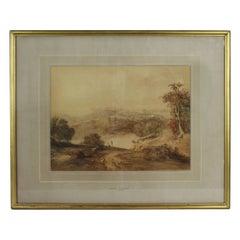Sepia Landscape Watercolour by Henry Fielding
