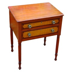American Sheraton Early 19th Century Two Drawer Stand with Curly Maple Drawers
