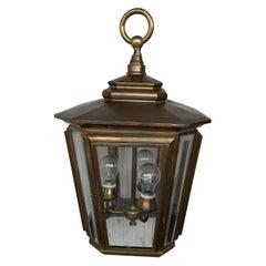 20th Brass & Beveled Glass Hexagonal Pendant Lantern