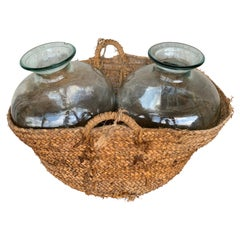 Set of 2 Green Glass French Demijohn Bottles with Woven Esparto Basket
