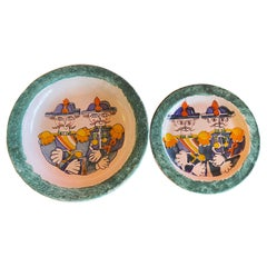 Decorative Hand Painted Italian Ceramic Plate and Bowl by DeSimone