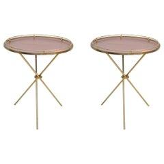 Pair of Maison Jansen Style Round Side Table Tripod France Mid-Century Modern