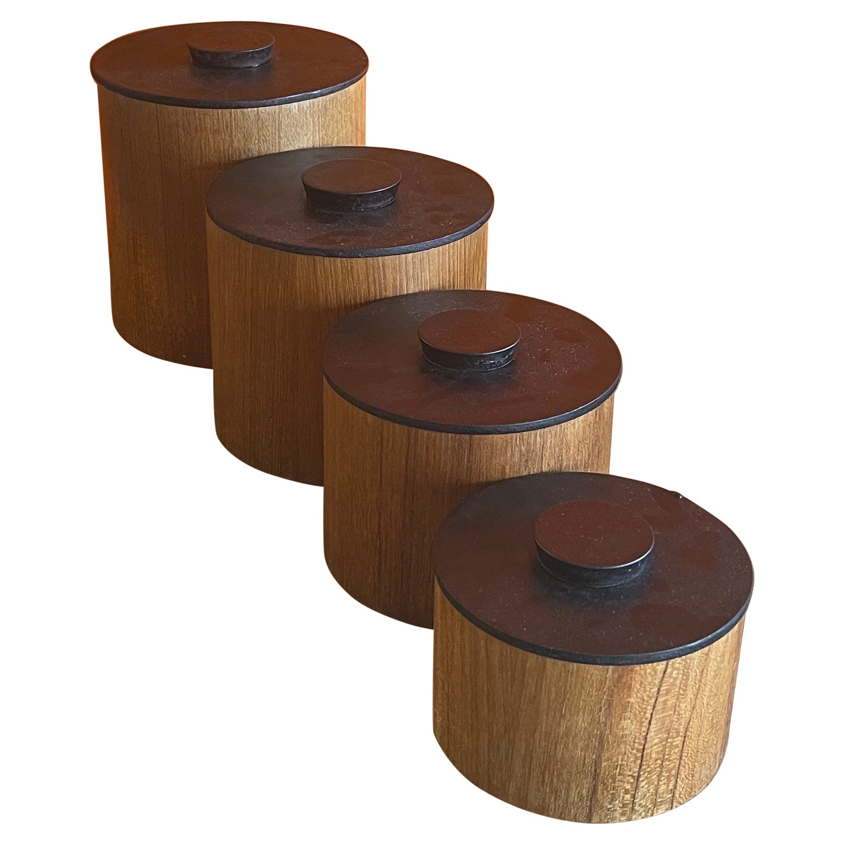Set of Four Danish Modern Teak Stackable Storage Cannisters