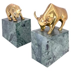 Pair of Bear & Bull Polished Brass Bookends on Green Marble Base