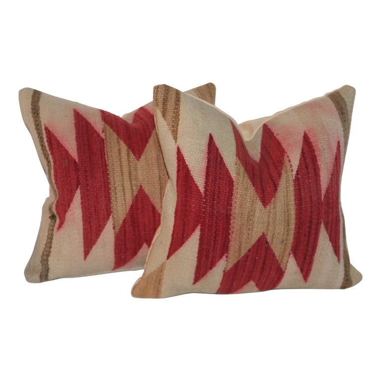 Navajo Indian Weaving Geometric Pillows, Pair For Sale
