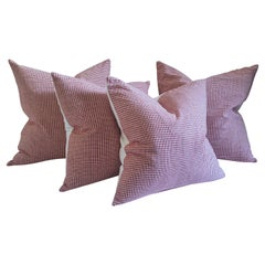 19thc Red & White Homespun Linen Pillows, Collection of Four