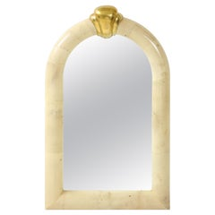 1980's Karl Springer Style Goat Skin Mirror Made in Colombia