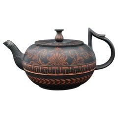 Black Basalt Teapot with Encaustic Decoration, England, C1790